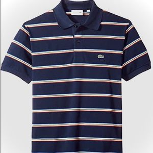 (MENS) Lacoste | Navy Striped Polo